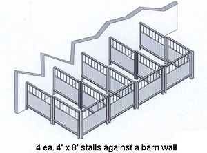 miniature stalls against barn wall