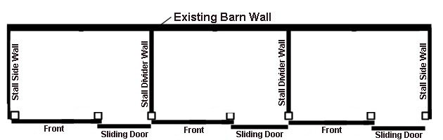 stall kit layout with stall walls used on the ends